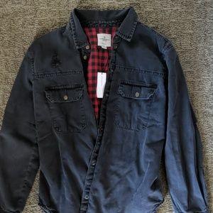 American Eagle Oversized Fit Black Jean Jacket Red